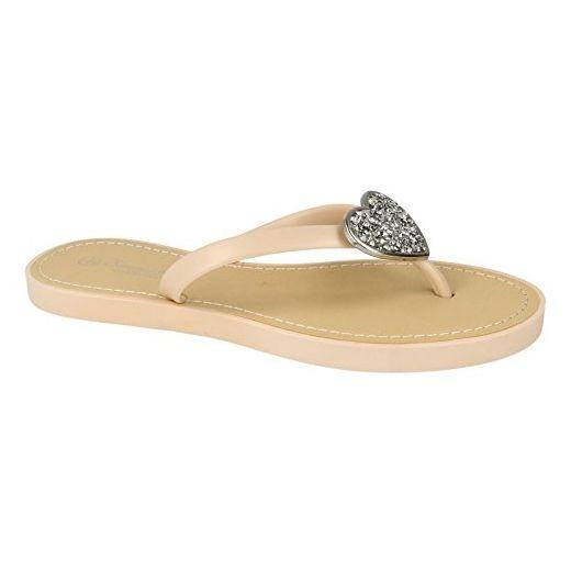 Savannah Damen Flip Flops mit Glitter Herz Akzent (36 EU) (Schwarz) qF4HSKbDO