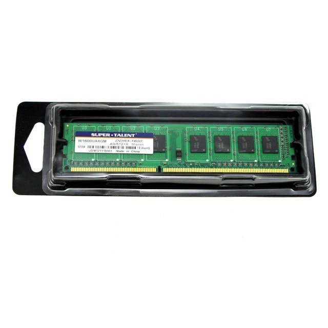 Super Talent DDR3-1600 4GB/512Mx8 CL11 Micron Chip Memory