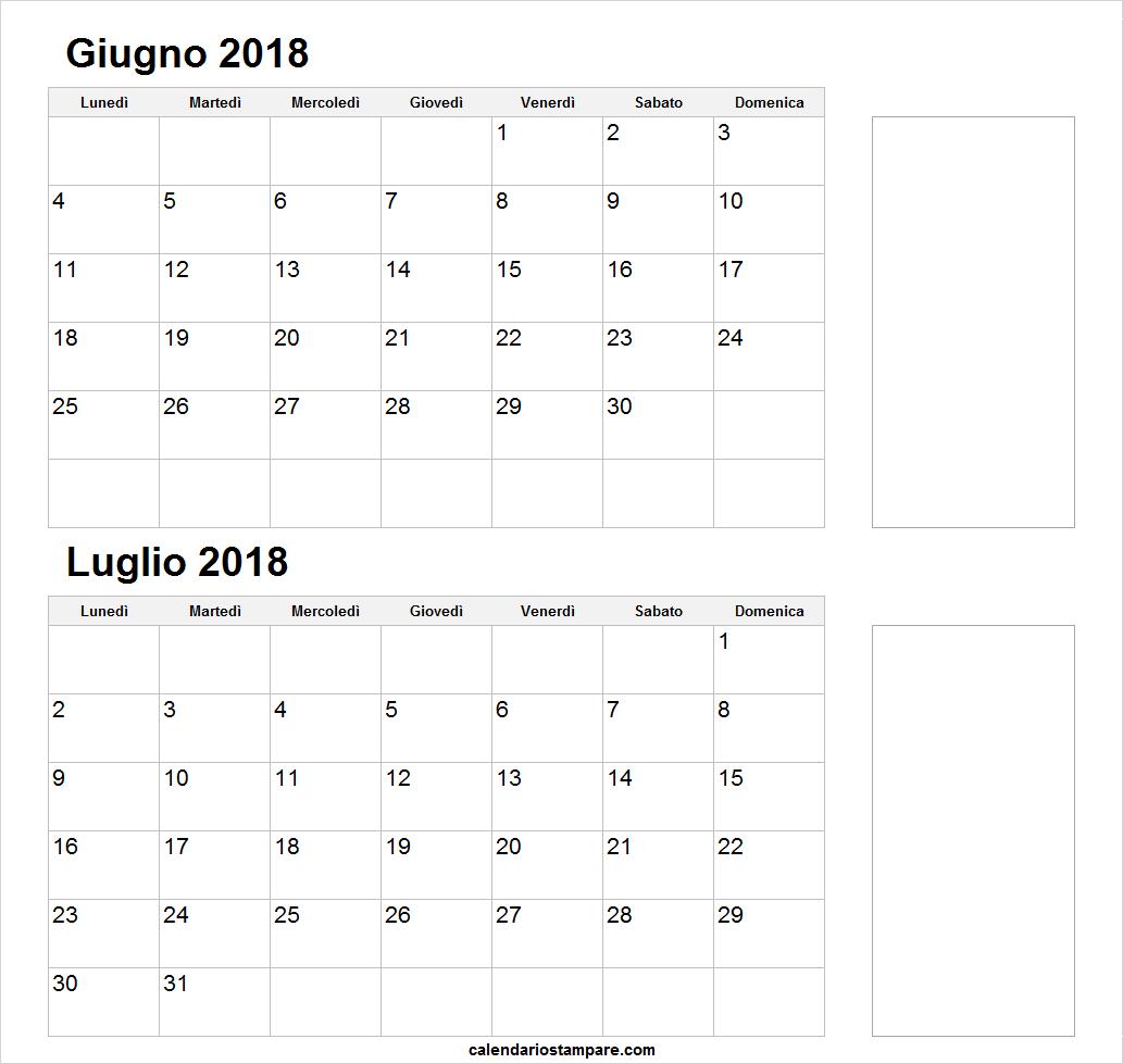 Giugno Luglio Mese Calendario 2018 Stampabile 2018