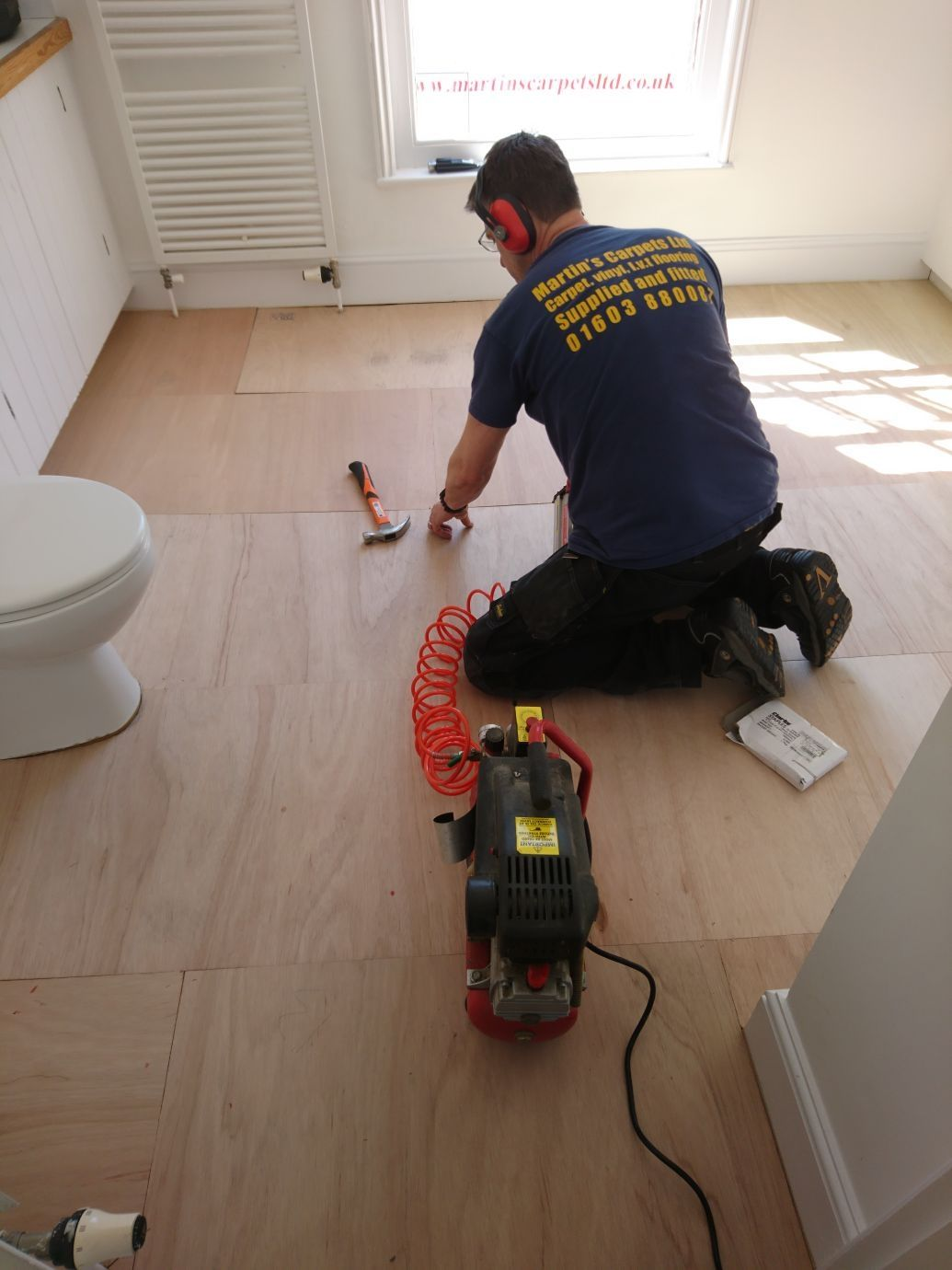 Fitting 6 Mm Fg1 Rated Ply Boarding To A Bathroom This Is A Must In Properties With Extremely Uneven Subfloors Vinyl Flooring Ply Board Vinyl