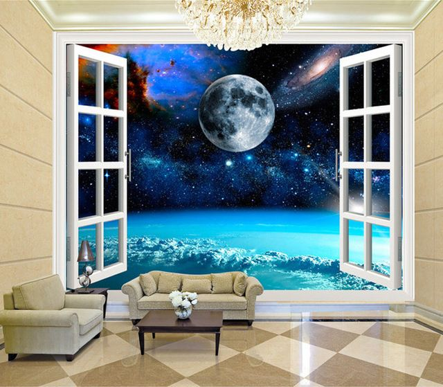 Charming Galaxy Wallpaper Personalized Custom 3d Wall Murals Moon Rhpinterest: 3d Wall Pictures For Living Room At Home Improvement Advice