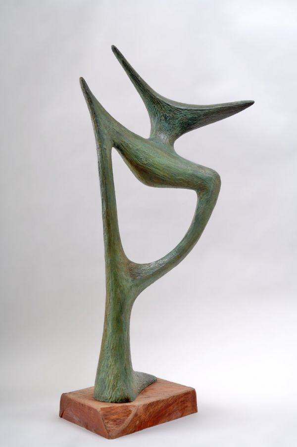 Bronze figurative abstract sculpture by artist akiva huber titled the wanderer minimalist modern bronze statue