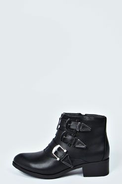 Emma Multi Buckle Ankle Boot at boohoo.com