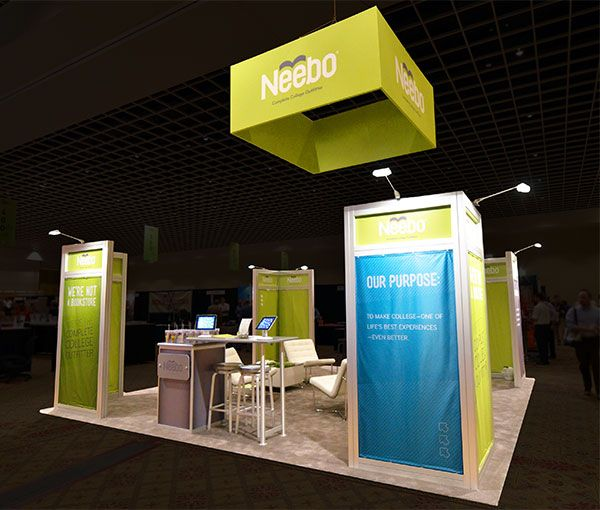 Corner Exhibition Stands Care : Beautiful booth design with corner displays island