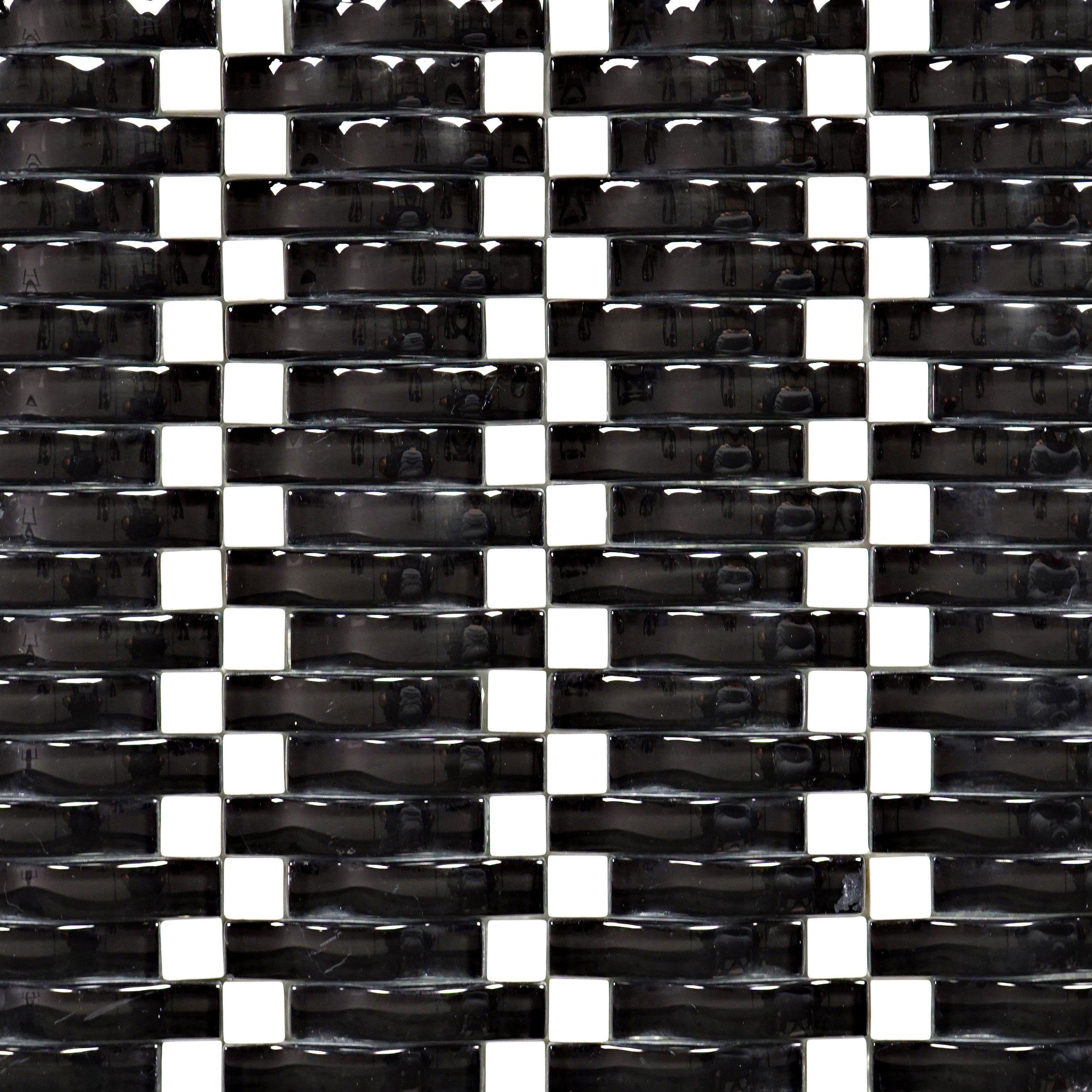 Tcg 09 3d Wave Black And White Glass Mosaic Tile Sheet Kitchen And Bath Backsplash Wall Tile Mosaic Glass Glass Mosaic Tiles Mosaic Tile Sheets