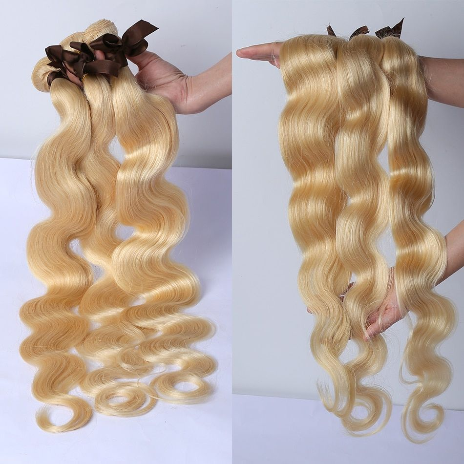 613 Color Body Wave 1 3 4 Bundles Brazilian Human Hair Weave Remy Weft 28 30 40 Inch Blonde Hair Extensions Middle Ration