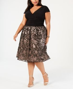 61cef3a4ef04d Sl Fashions Plus Size Glitter Fit & Flare Dress - Pink 16W ...
