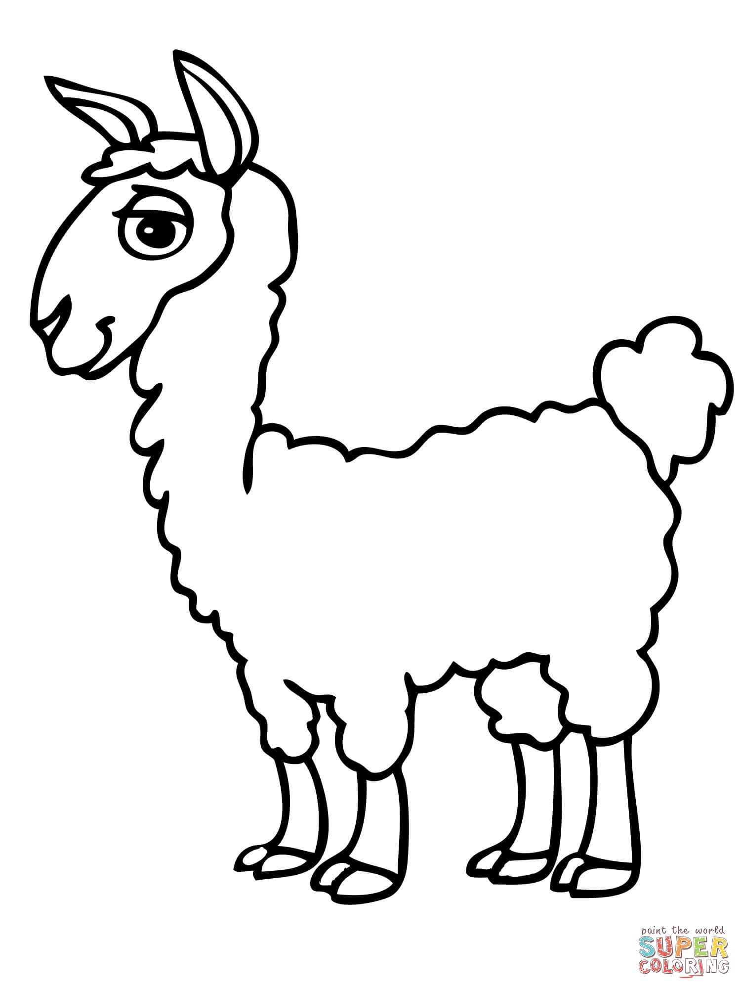 Cute Alpaca Coloring Page Free Printable Coloring Pages