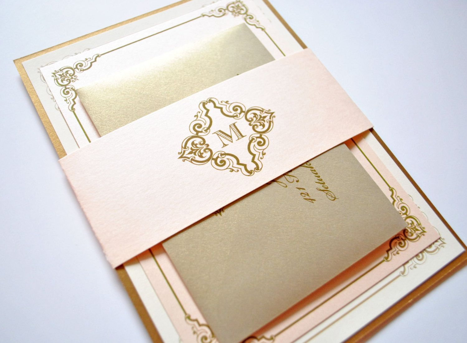 Blush And Gold Wedding Invitations Champagne Pink