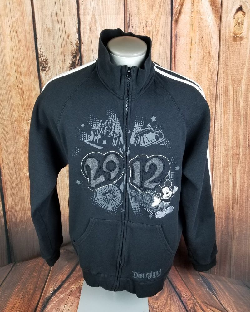 Disneyland park resort mens zip up fleece jacket sz large black