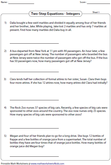 Two Step Equation Word Problems Integers Integers Word Problems Adding And Subtracting Integers Word Problem Worksheets
