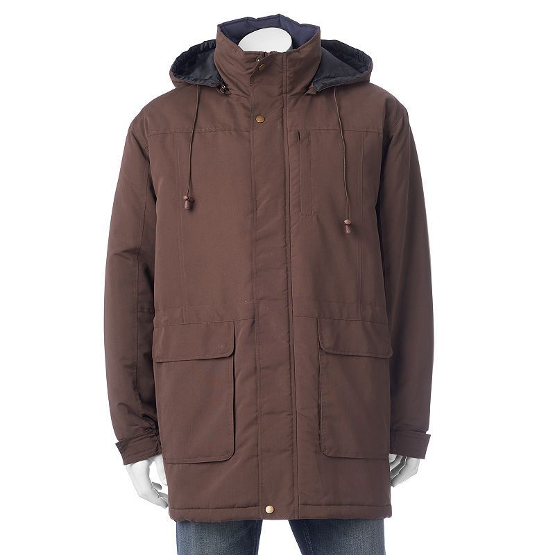 Men's North 40 Microfiber Peached Longer-Length Parka, Size: Small, Beig/Green (Beig/Khaki)