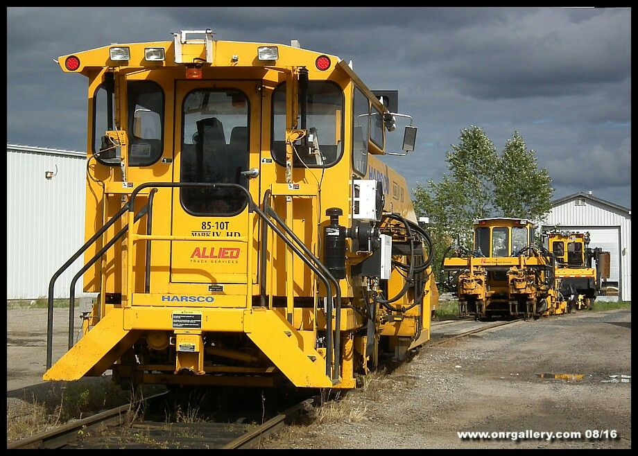 A variety of equipment from Grimsby Ontario's Allied Track Services spends a Saturday on the blower track at Cochrane Yard August 6th.