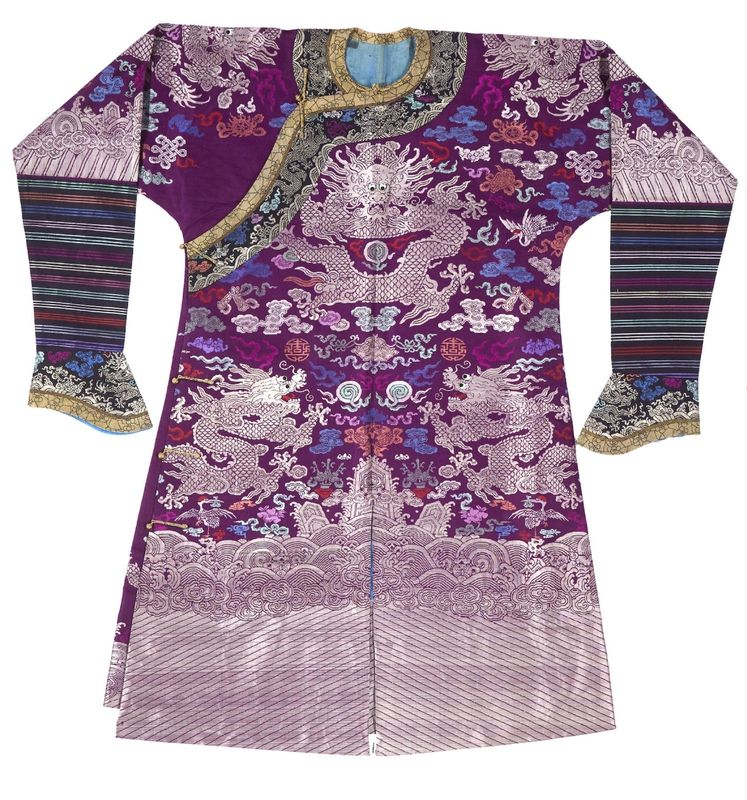 A Purple ground brocade dragon robe, Late Qing dynasty