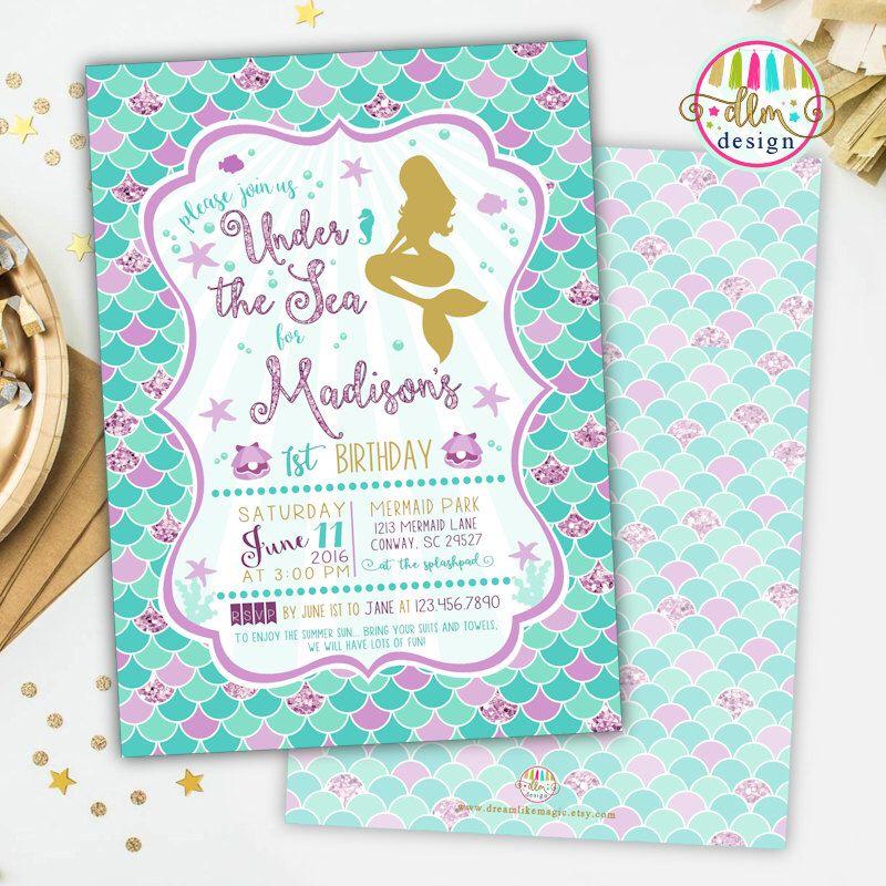 Mermaid Birthday Party Invitation, Printable Invite, Girl Birthday - birthday invitation swimming party