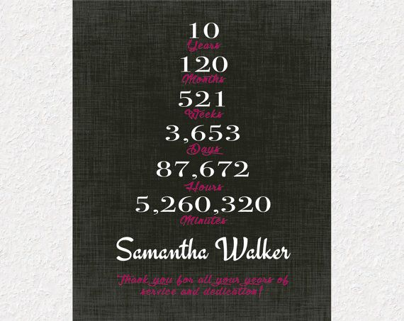10 Years Work Anniversary Gift 10 Year Service Gift Idea Etsy Work Anniversary Gifts Employee Appreciation Gifts Work Anniversary