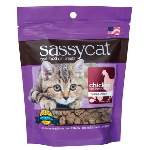 Your Kitty Will Flip For These Delicious And Nutritious Treats From Sassy Cat Their Entire Line Of Treats Is Rich In Hig Chicken Treats Cat Treats Sassy Cat