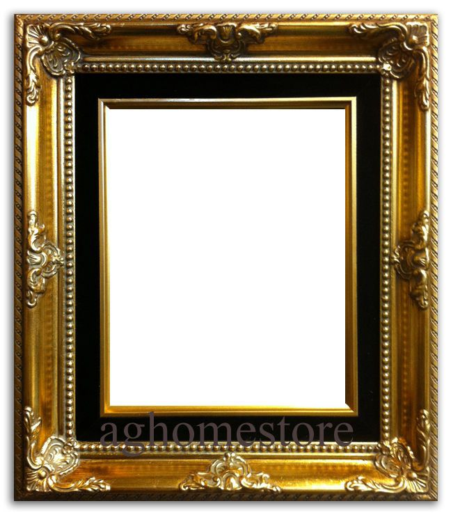 antique gold leaf wood picture frame black liner