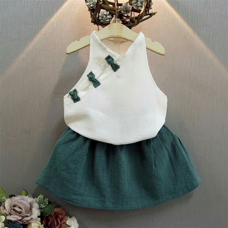 26fcd30b0e96 NEAT MX Fashionable Girls Tops Skirt Set Cotton and Linen Sleeveless Skirt Summer  Dress Set Retro Cheongsam Children s