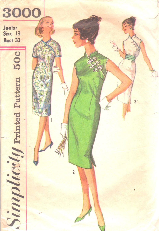 Simplicity 3000 1950s junior misses oriental sheath dress and simplicity 3000 1950s junior misses oriental sheath dress and cummerbund pattern womens vintage sewing pattern size jeuxipadfo Choice Image