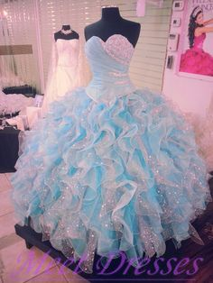 dc5fd5dec36 Quinceanera Dresses 2015 Vintage Ombre Tulle White And Light Blue Ruffled…