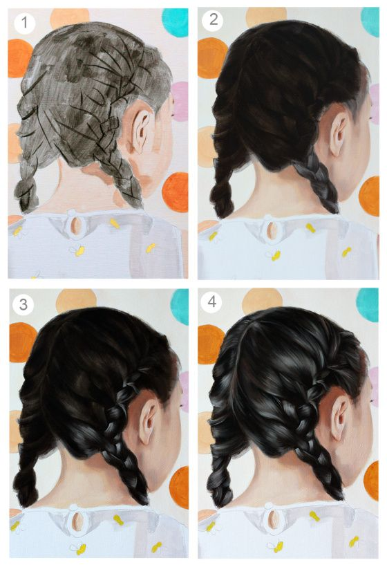 Anatomy of a painting part 2, work in progress. How to paint hair. Painting hair in oil paint by Rose Miller of www.wolfgangandrose.com