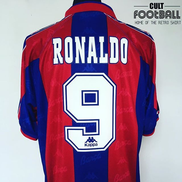 ON SALE NOW   ronaldolima Barcelona Kappa 1996 97 home. 2 of these  authentic original jerseys available. DM for any details. Link in our Bio⚽   ronaldo ... 9ddc08cc73992