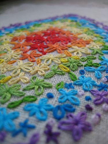 Lazy daisy stitch {aka detached chain stitch}