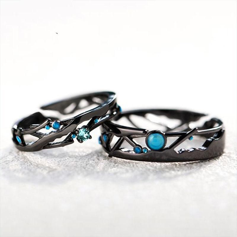 Thaya 925 Sterling Silver Meteor Ring Turquoise Ring Black Handmade Vintage Unique Blue Open Band Ring Promise Ring Jewelry Gift for Women and Girls/