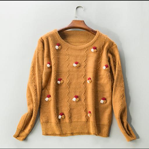 بلوزة نسائية شتوية بأكمام طويلة البلوزة من قماش الصوف مع فتحة رقبة دائرية بلوزة كموني اللون من موديلات بلوزات صوف Pullover Fashion Sweaters