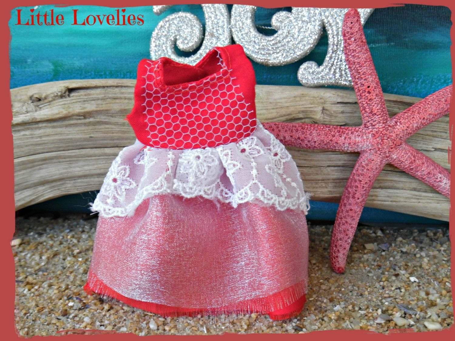 """BLYTHE DOLL Dress - OOAK- """"Barefoot Snowflake"""" - Red & White layered for Christmas by CooeeChris on Etsy"""