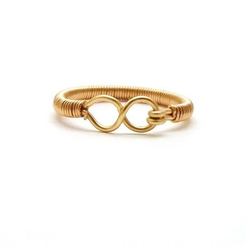 Gold Infinity Ring Handmade Wire Wrapped Eternity Symbol non tarnish gold brass infinity symbol 7 gold Any Age Unisex