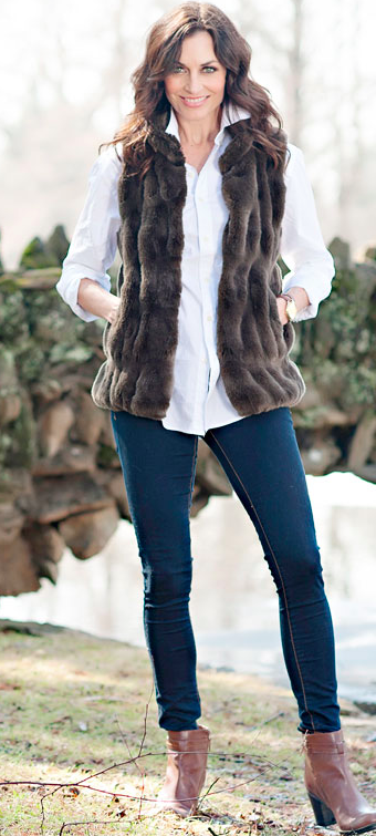 Taupe Mink Couture Faux Fur Hook Vest