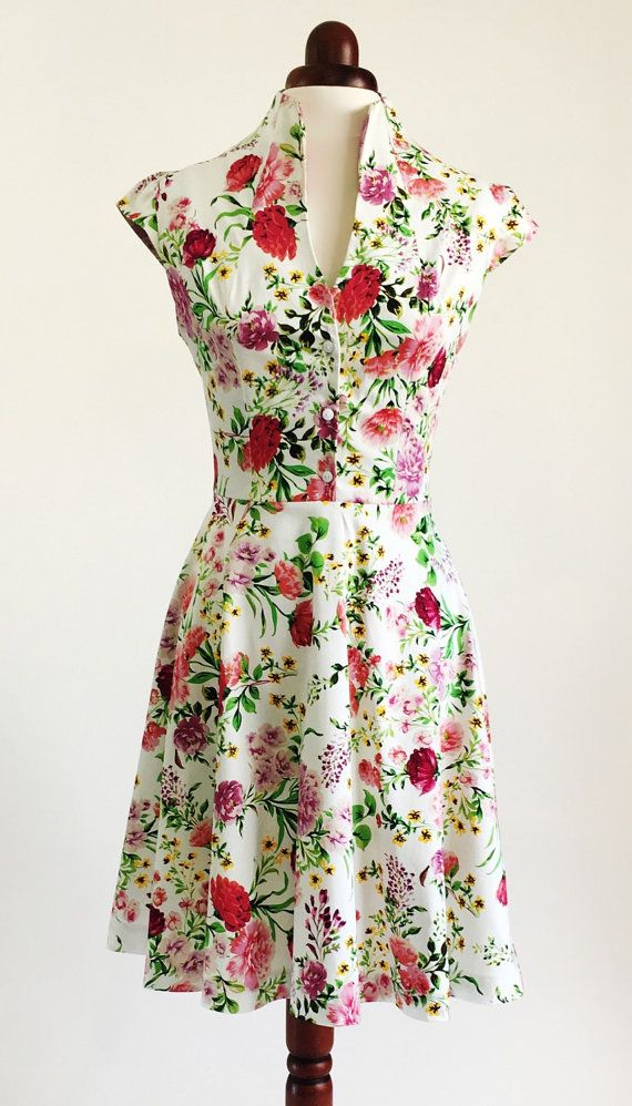 Spring Flower Dress Fl Summer Vintage Style Mid Length Cotton 50s Garden Party Ss16
