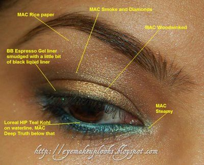 Photo of teal and bronze eye makeup