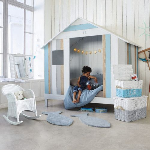 lit cabane enfant 90 x 190 cm en bois blanc et bleu lit cabane pinterest. Black Bedroom Furniture Sets. Home Design Ideas