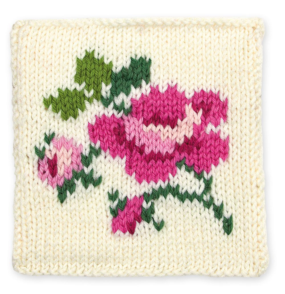 Knit Rose Floral Block - a short project for practice knitting with ...