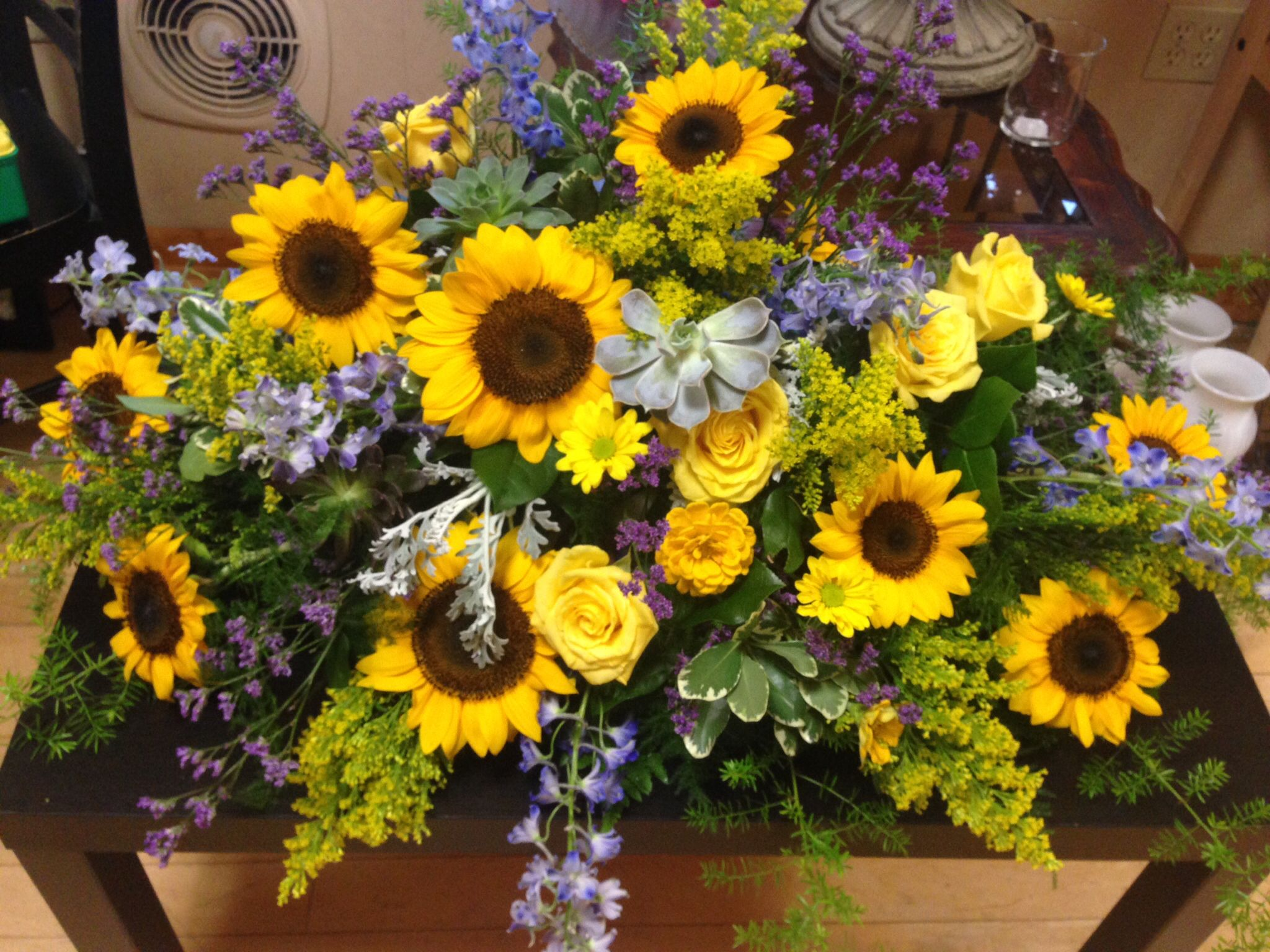 Sunflower Arrangements For Funeral : Sunflower coffin spray floral funeral tribute casket