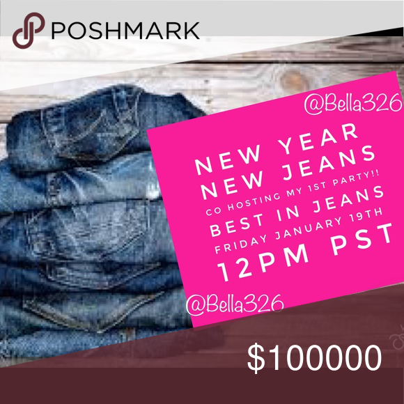 "???? CO HOSTING MY 1st PARTY ???? The theme is announced ... I'll be co-host ""BEST IN JEANS PARTY"" This Saturday 1/19/19 @ 12pm Pacific time. Spread the word Im Super excited to Party with you ladies  TAG TAG TAG ????  Comment below so I can check out your closet im L????King for Host Picks also tag your friends & Posh Crushes! Jeans #myposhpicks"