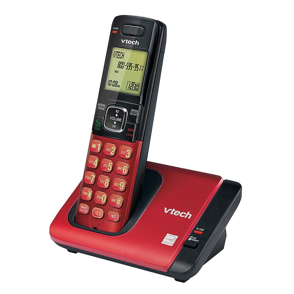 Vtech Dect 6 0 Cordless Single Handset Phone With Caller Id Call Waiting Red Item 301538