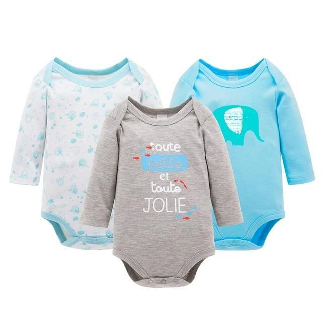 307a8c65f 3pcs set Baby Boys Girls Long Sleeve Rompers 100% Cotton Newborn ...
