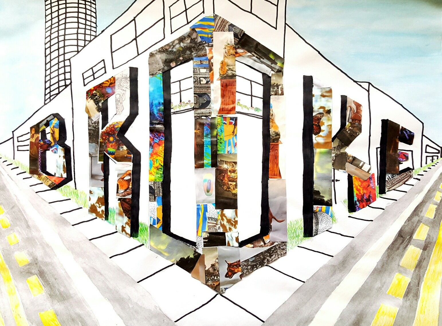 2 Point Perspective Street Corner Name Collage With