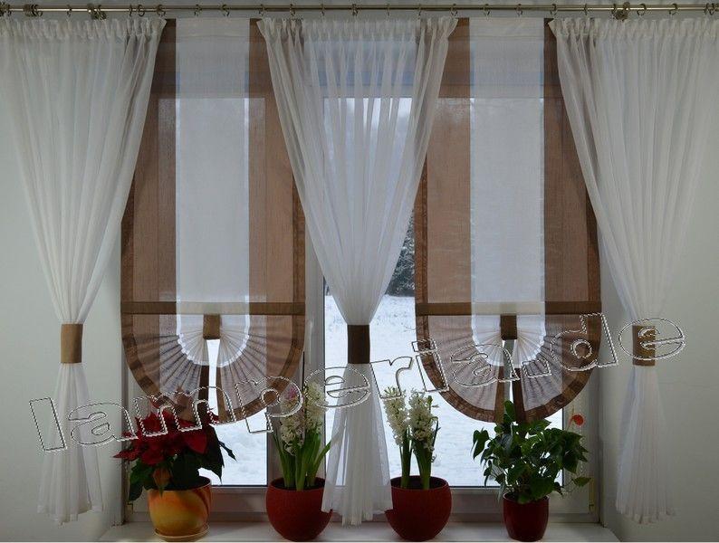 Fenster 180 Cm Gardine Komplett Dekoration Wohnzimmer Weiß Beige Braun  00526 | EBay
