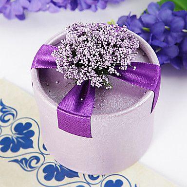 caixa redonda favor roxo com flores e fita (conjunto de 12) de 2016 por $8.99