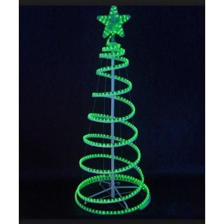 6 Green Led Lighted Outdoor Spiral Rope Light Christmas Tree Yard