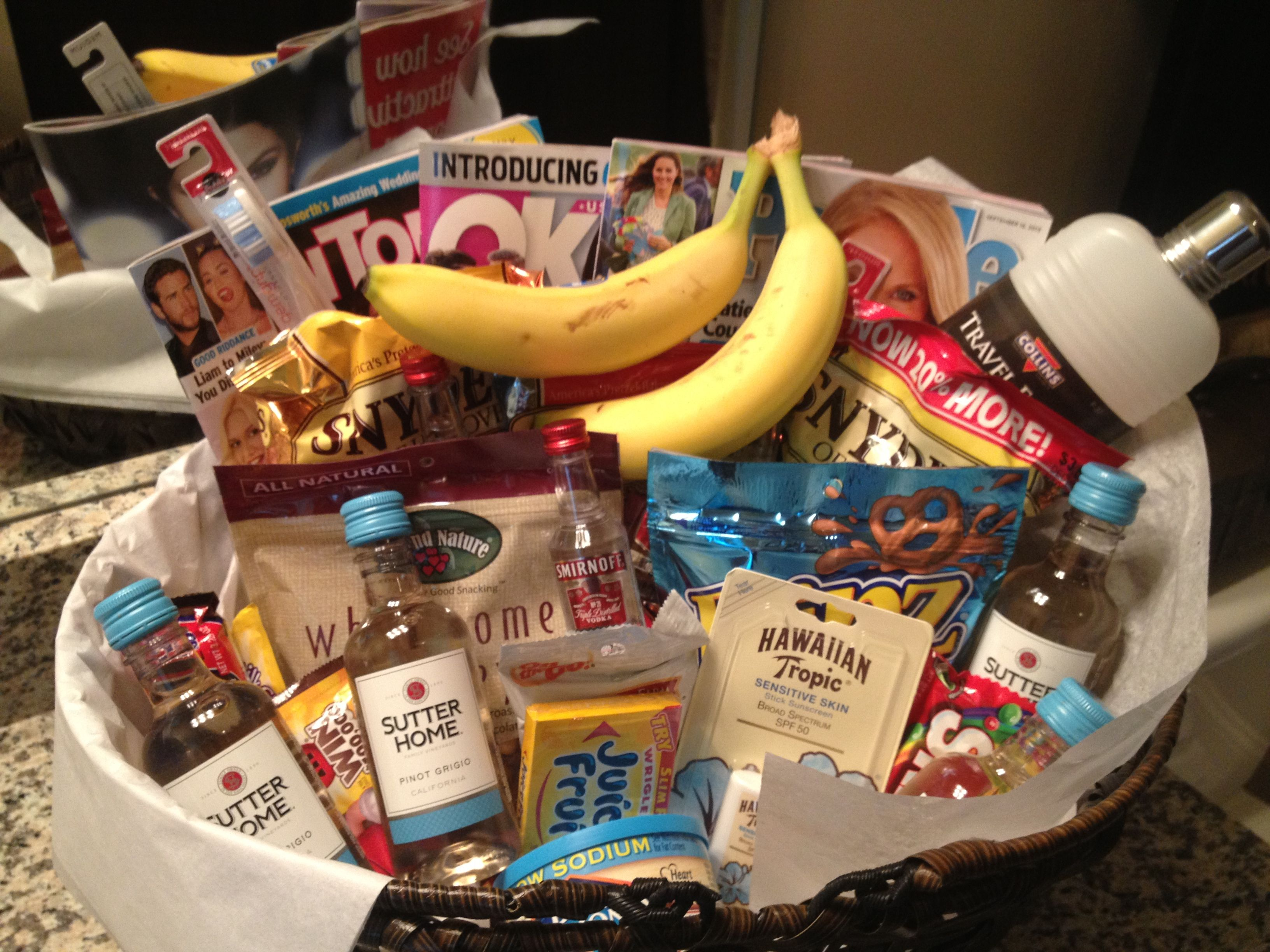 Welcome basket for out of town guests gifts pinterest for Wedding welcome gifts for out of town guests