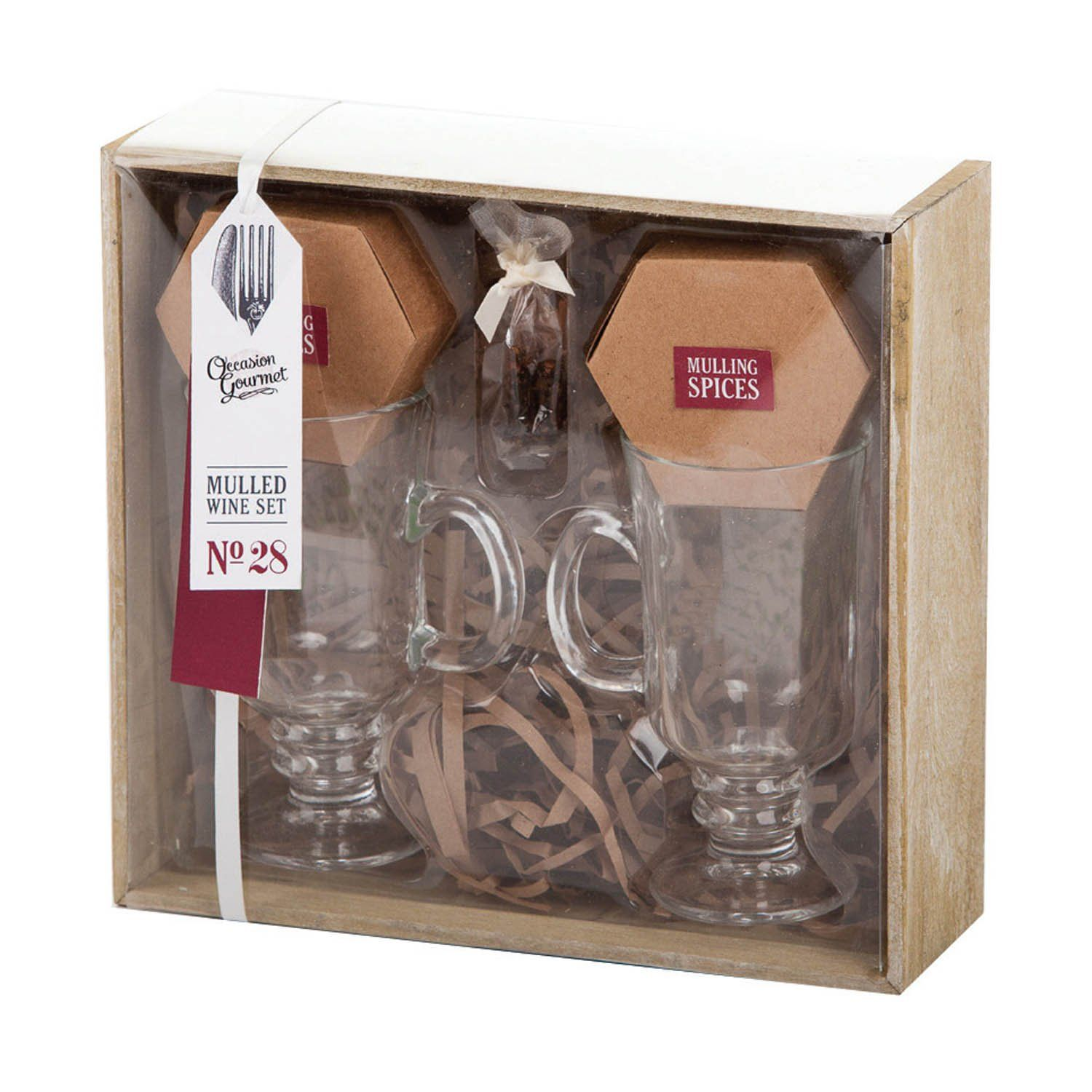 Mulled Wine Gift Set for Two with Spices in Wooden Gift
