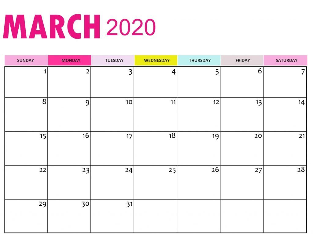 Free March Calendar 2020 Printable In 2020 Calendar March