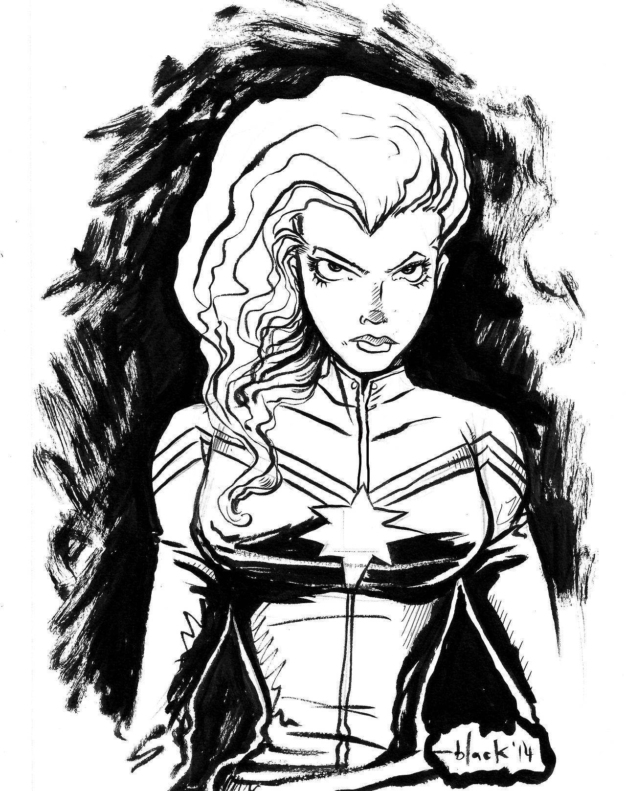 Captain Marvel Aka Carol Danvers Marvel Coloring Captain Marvel Black And White Pictures