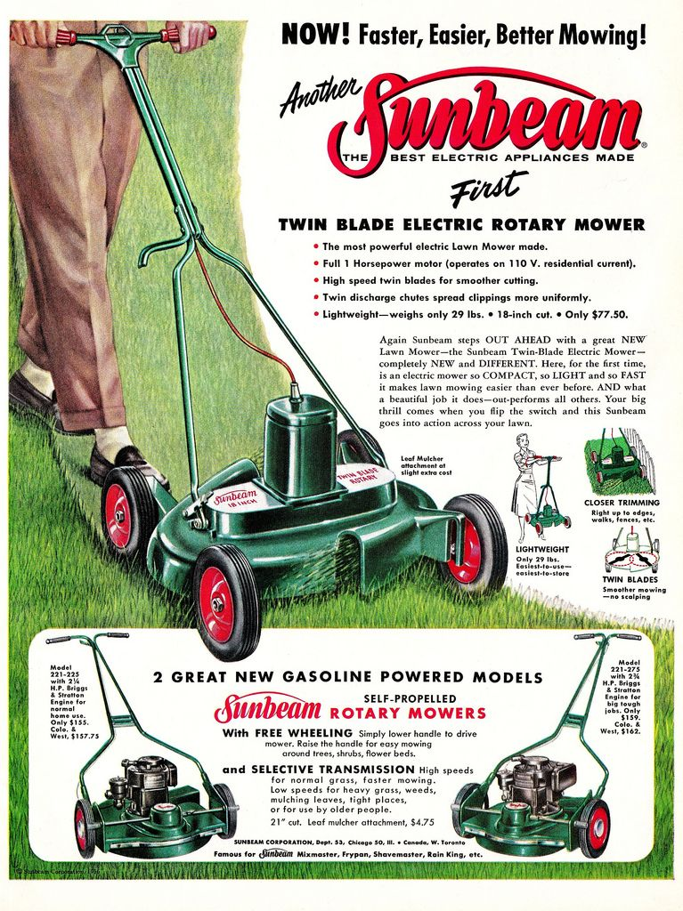 Did You Know That Sunbeam Made Lawnmowers Lawn Mower Rotary Mower Vintage Advertisements